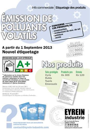 Nouvel étiquetage - Émission de polluants volatils